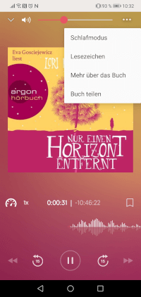 Funktionen Hörbücher Nextory App