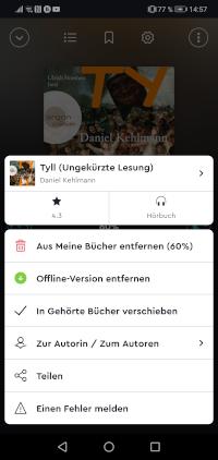 Funktionen der BookBeat App - Streaming, Hörbuch Download, Sleeptimer, Kapitelauswahl, Teilen, Bibliothek und mehr
