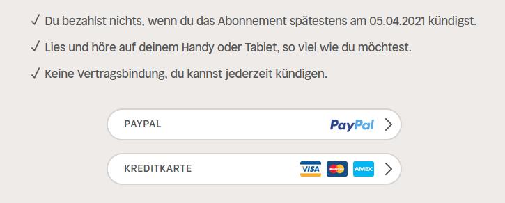 Nextory Zahlungsmethoden